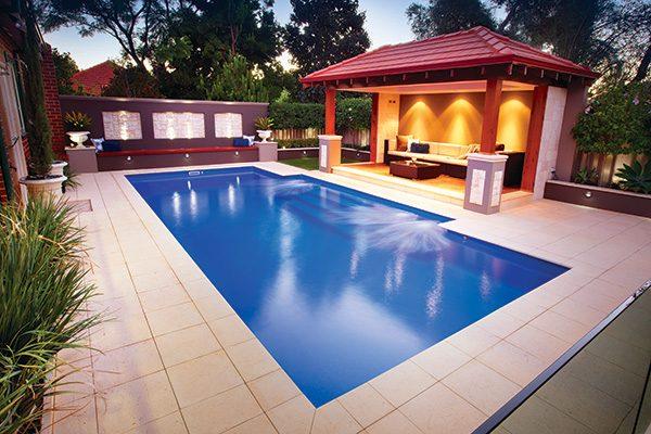 """Regal"" Large Fiberglass Swimming Pool, pictured as backyard pool"