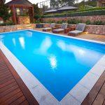 """""""Torino"""" Fiberglass Large Inground Pool, pictured as backyard pool"""