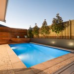 Allure Fiberglass Swimming Pool Design, pictured as backyard pool