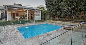"""Avellino"" Fiberglass Pool, pictured as backyard pool"