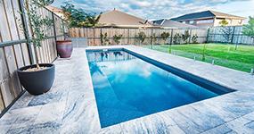 """Neopolitan"" Fiberglass Pool Design, pictured as backyard pool"